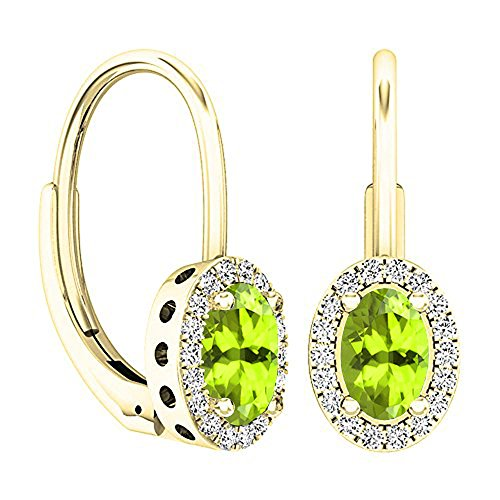 Dazzlingrock Collection 14K 6X4 MM Each Oval Cut Peridot & Round Cut Diamond Ladies Dangling Earrings, Yellow Gold