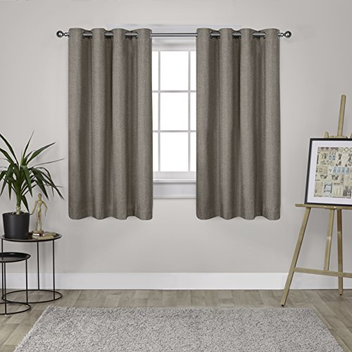 Exclusive Home Curtains London Thermal Textured Linen Grommet Top Window Curtain Panel Pair, Café, 52x63 (Silk Striped Curtains)