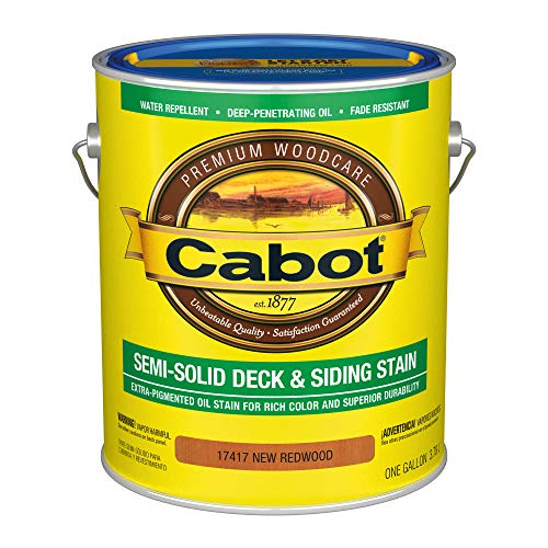 CABOT SAMUEL 17417-07 INC Gallon Redwood, VOC, Semi-Solid Deck & Siding Stain Cabot Deck Stain Colors