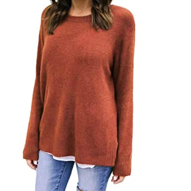 214ddc514c5 SEWORLD Women Blouse Long Sleeve Loose Knitted Sweater Jumper Tops  Amazon. co.uk  Clothing