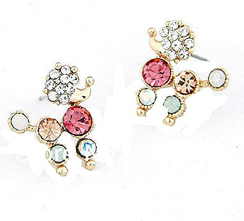 Price comparison product image Basket Hill , Girls Colorful Crystal POODLE Post Earrings
