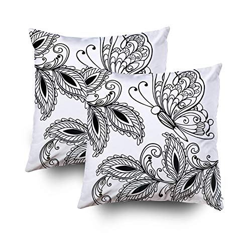 HerysTa Easter Home Decorative Body Pillow Cover Pack of 2 18X18inch Invisible Zipper Cushion Cases Butterfly Leaves Adult Anti Stress Coloring Pages Print Boho Henna Tattoo Square Sofa Bed Décor ()