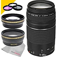 Canon EF 75-300mm f/4-5.6 III Lens with Wide Angle Lens, Telephoto Lens and 3PC Multi-Coated Filter Kit (UV+CPL+FLD)