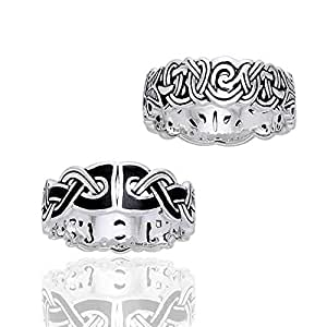Mammen Weave Viking Knot Wedding Band Norse Celtic Sterling Silver Ring Size 4(Sizes 4,5,6,7,8,9,10,11,12,13,14,15)
