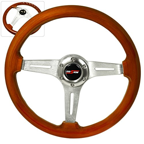 Godsnow Horn Button + 345MM 6-Bolt 2 Inch Deep Dish Light Wood Grain Chrome Aluminum Luxury Streak Style Upgrade Replacement Steering Wheel Woodgrain Steering Wheel