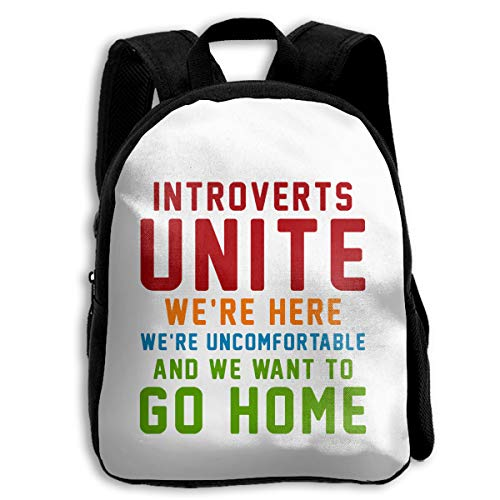 Kid's Backpack For School Travel Introverts Unite We're Here We're Uncomfortable