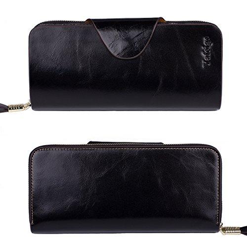 af5c397bb5f Yafeige Large Luxury Women's RFID Blocking Tri-fold Leather Wallet Zipper  Ladies Clutch Purse