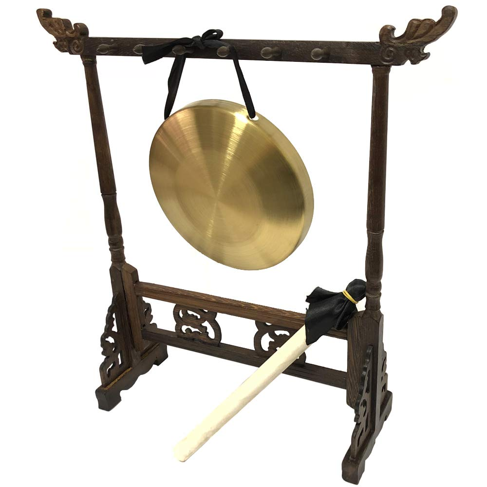 Luvay Gong with Stand and Mallet, Desktop Zen Art, Traditional Percussion Music Instruments