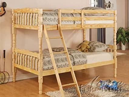 Amazon Com Twin Size Bunk Bed Cottage Style In Natural Finish