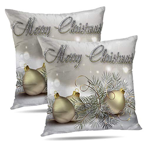 Darkchocl Set of 2 Daily Decoration Throw Pillow Covers Gold Silver Shimmer Christmas Ornaments Square Pillowcase Cushion for Couch Sofa or Bed Modern Quality Design Cotton and Polyester 18