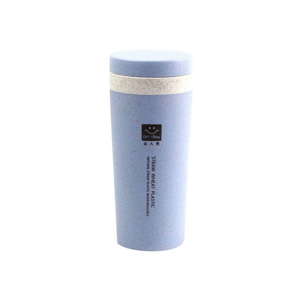 Insulated Mug With Lid, JDgoods Kitchen Wheat Straw Double Insulated Gift Mug Tumbler With Lid Eco-friendly For Gift (Blue)