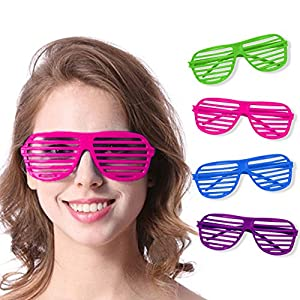 Novelty Place Neon Color Shutter Glasses 80's Party Slotted Sunglasses for Kids & Adults - 12 Pairs (4 Colors)