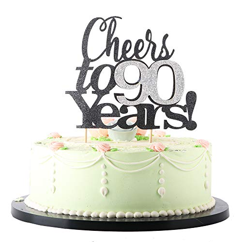 Cheers to 90 Years Silver and Black Cake Topper