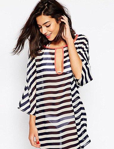 Damen skt-swimwear seidig Kimono Sleeve Chiffon Gestreift Beachwear