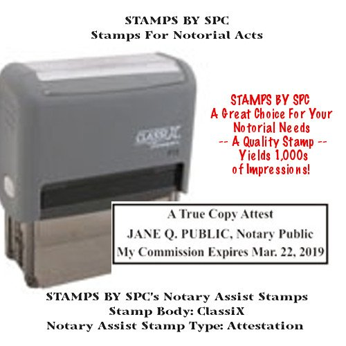 NOTARY SUPPLIES // CUSTOM CLASSIX // SELF-INKING CUSTOM NOTARY ATTESTATION STAMP // Impression: 7/8
