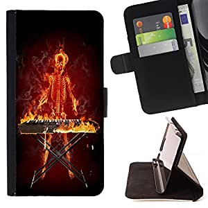- Skull Devil Diablo Extraterrestrial - - Premium PU Leather Wallet Case with Card Slots, Cash Compartment and Detachable Wrist Strap FOR Samsung Galaxy S5 Mini SG870a, SM-G800 King case