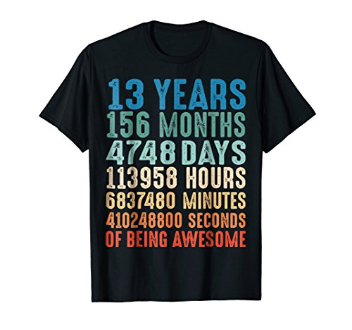 13 Years Old 13th Birthday Vintage Retro T Shirt 156 Months