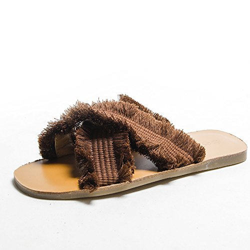 Moda de Tejido Sandalias de Planos Marrón 36 netas Verano Cruzado 2018 Rojas Zapatillas DYY Zapatos de qRP4wY