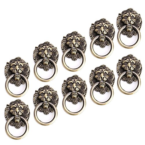 (10pcs Antique Bronze Cartoon Lion Head Knobs Cabinet Handles Door Hardware Handles Cupboard Closet Drawer Pulls)