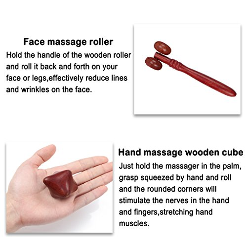 ewinever Professional Full Set of 4 Pcs Reflexology Tool Traditional Thai Massage Hand Foot Face Body Acupoint Massager Natural Red Wood by ewinever (Image #6)