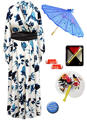 Geisha Costume Sash (Navy & Cream Geisha Robe Plus Size Supersize Costume - Deluxe Kit)