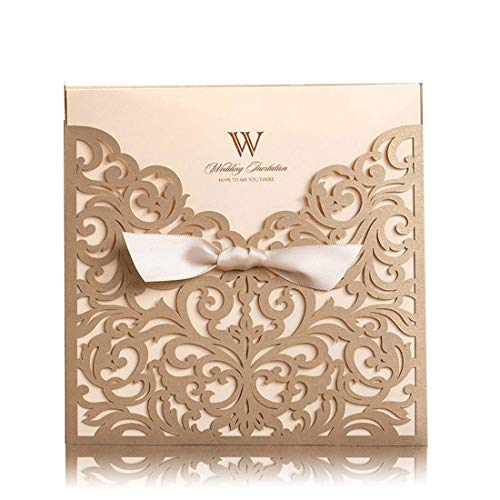 WISHMADE 50 Count Square Laser Cut Invitations Cards Kits Gold for Wedding Birthday Bridal Shower with Ribbon Envelopes Printable Beige Tri Fold Paper ()