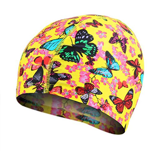 Ewanda store Flower Solid Color Lycra Swim Caps for Long Hair Pleated Cloth Swimming Cap Bathing Cap for Adult Men Women(Yellow Butterfly-1)