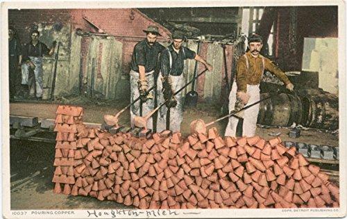 Historic Pictoric Postcard Print | Pouring Copper, Quincy Smelter, Hancock, Mich, 1898 | Vintage Fine Art