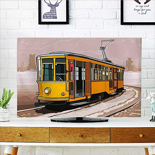 Cover for Wall Mount tv Yellow Train on Rail Roads Winter Scenery Suburban Yellow and Light Brown Cover Mount tv W35 x H55 INCH/TV 60