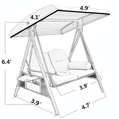 Abba Patio 2 Person Outdoor Porch Swing Hammock With Steel