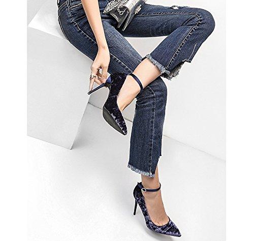 8cm, 10cm lila Spitze Stiletto High Heels, flachen Mund Wort gebändert Damen Schuhe ( Farbe : Purple8cm , größe : 33 ) Purple10cm