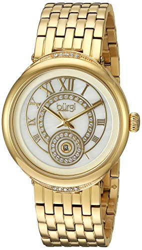 Burgi Women's White Mother-of-Pearl Dial with Swarovski Crystal Accented Bezel and Gold-Tone Stainless Steel Bracelet Watch BUR164YG