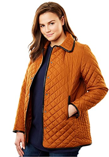 Woman Within Plus Size Quilted Snap-Front Jacket - Honey Glaze, 18 W
