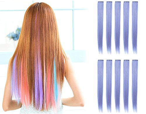 OneDor 23 Inch Colored Party Highlights Straight Hair Clip Extensions. Heat-Resistant Synthetic Hair Extensions in Multiple Colors (10 Pcs Heather Violet) (Extensions Pastel)