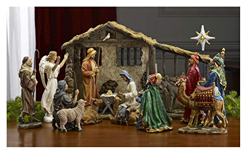 THREE KINGS GIFTS THE ORIGINAL GIFTS OFCHRISTMAS Deluxe Edition 17 Piece 7 inch Christmas Nativity Set with Real Frankincense Gold and Myrrh]()