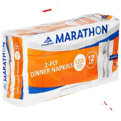 Marathon - Embossed Dinner Napkins, 1/8 Fold - 1,200 Napkins -