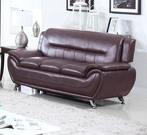 U.S. Livings Anya Modern Living Room Polyurethane Leather Sofa, Loveseat, and Chair Set (3-Piece, Dark Cherry)