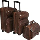 AmeriLeather Leather Three Piece Set Traveler (Waxy Brown)