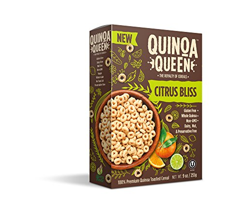 Quinoa Queen Cereal (Pack of 4), Citrus Bliss, Gluten Free Breakfast Cereal, Healthy for Entire Family, High in Protein and Fiber, 9 oz