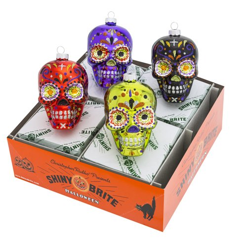 Radko Shiny Brite 4 Count Halloween Skull Day Of The Dead (Day Of The Dead Pumpkin)