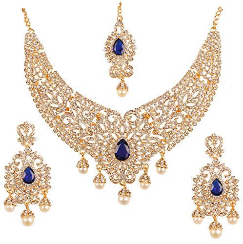 Touchstone New Indian Bollywood Desire Legendary Style Old Diamond Look Faux Blue Sapphire Grand Designer Bridal Jewelry Necklace Set in Antique Gold Tone for Women