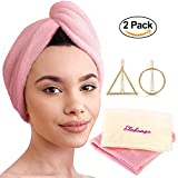 2 Pack Microfiber Hair Towel Wraps for Quick Dry + 2 Hair Clips - Ultra Absorbent Head Towel for Delicate, Thick and Curly Hair - Microfiber Hair Turban Towel by Eledanya