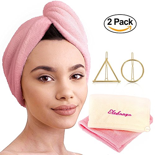 2 Pack Microfiber Hair Towel Wraps for Quick Dry + 2 Hair Clips - Ultra Absorbent Head Towel for Delicate, Thick and Curly Hair - Microfiber Hair Turban Towel by Eledanya by Eledanya
