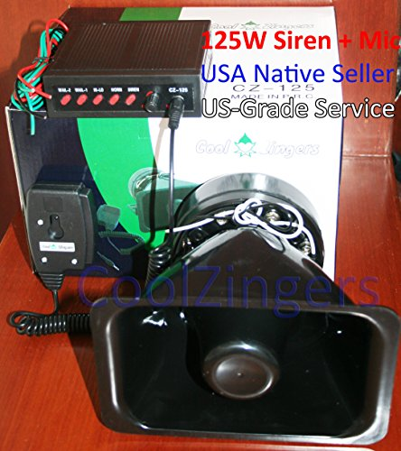 Cool Zingers 125 Watt Police Siren 5 Sound Emergency Vehi...