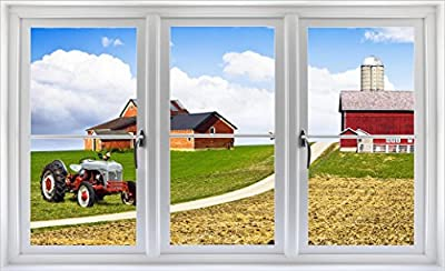"""24"""" Window Landscape Scene Nature View ANTIQUE TRACTOR on FARM #1 CLOSED WHITE Wall Sticker Decal Room Home Office Art Décor Den Mural Graphic SMALL"""