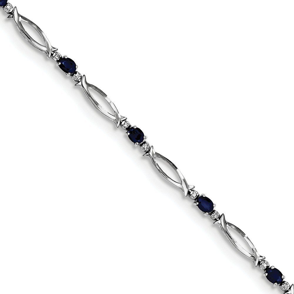 Top 10 Jewelry Gift Sterling Silver Rhodium-plated Sapphire and Diamond Bracelet