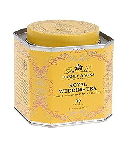 Harney and Sons Royal Wedding White Tea with Pink Rose Buds, 30 Count Sachet Tin