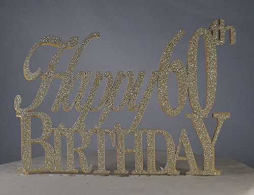 All About Details Gold Happy-60th-birthday Cake - 60th Birthday Cake Topper Gold