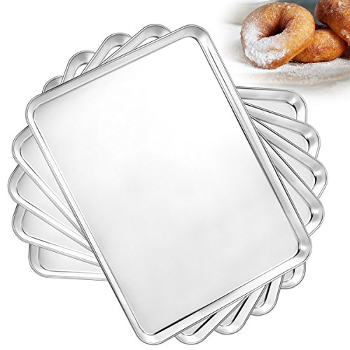 Bastwe Baking Pan Set of 5, Stainless Steel Toaster Oven Tray Pan Cookie Sheets, Rectangle Size 16×12×1 inch, Healthy & Non Toxic, Superior Mirror Finish & Easy Clean, Rust Free & Less Stick