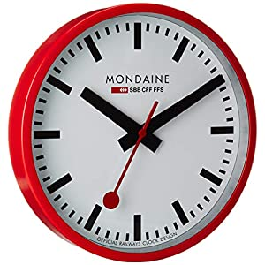 Mondaine Reloj Pared Moderno en Color Rojo, A990.Clock.11SBC, 25 CM 1